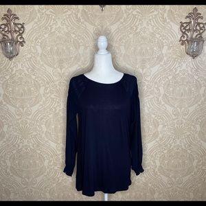 LOFT Navy puffy long sleeve lightweight knit top